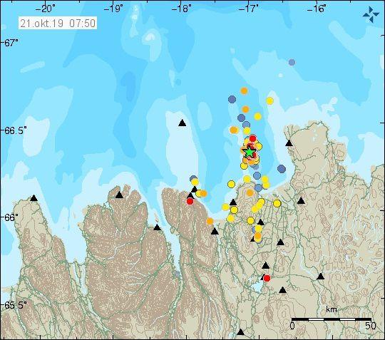 Tjornes fracture zone - essaim sismique : localisation, date et magnitude des séismes - Doc. IMO