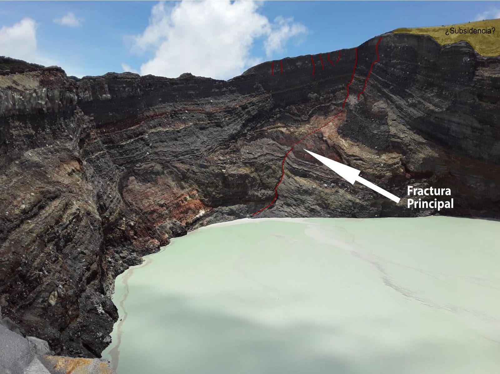 Rincon de la Vieja  - fracture principale dans parois du cratère actif - photo 28.08.2019  AC Guanacaste