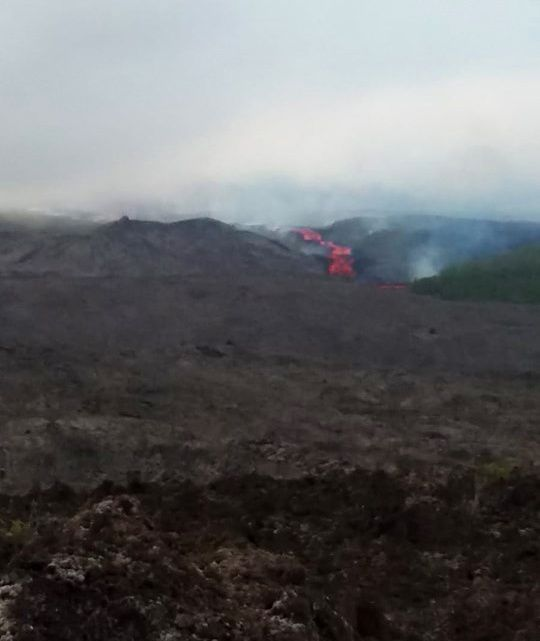 Piton de La Fournaise 25.10.2019 - the castinlava flow front in the Great Slopes - photo OVPF