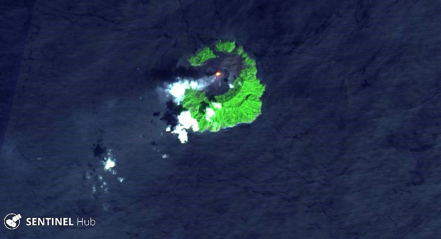 Barren Island - hot spot on 24.10.2019 on the image Sentinel-2 bands 12,11,4