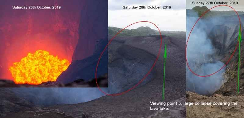 Yasur - comparison between the images of 25 and 27 October 2019, illustrating the internal landslide - image: Justin Noonan, via Volcanodiscovery
