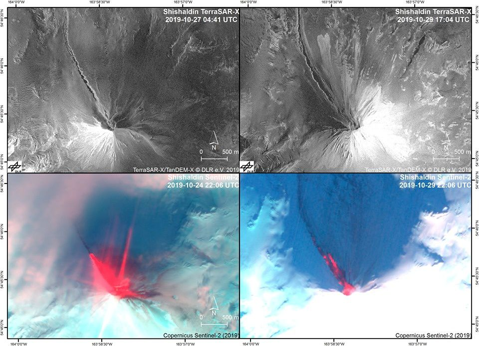 This panel of four satellite images of Shishaldin compares eruptive activity from October 24th and 27th (left) to activity on October 29th (right), and features as documented with satellite radar images (top, aperture radar TerraSAR-X synthetic) and optical / infrared imaging (low, Sentinel-2 natural color composite with short-wave infrared or CRI). This imagery was provided by Simon Plank (German Aerospace Center, DLR) through an ongoing collaboration with the Alaska Volcano Observatory on Remote Sensing of Volcanic Eruptions. - one click to enlarge