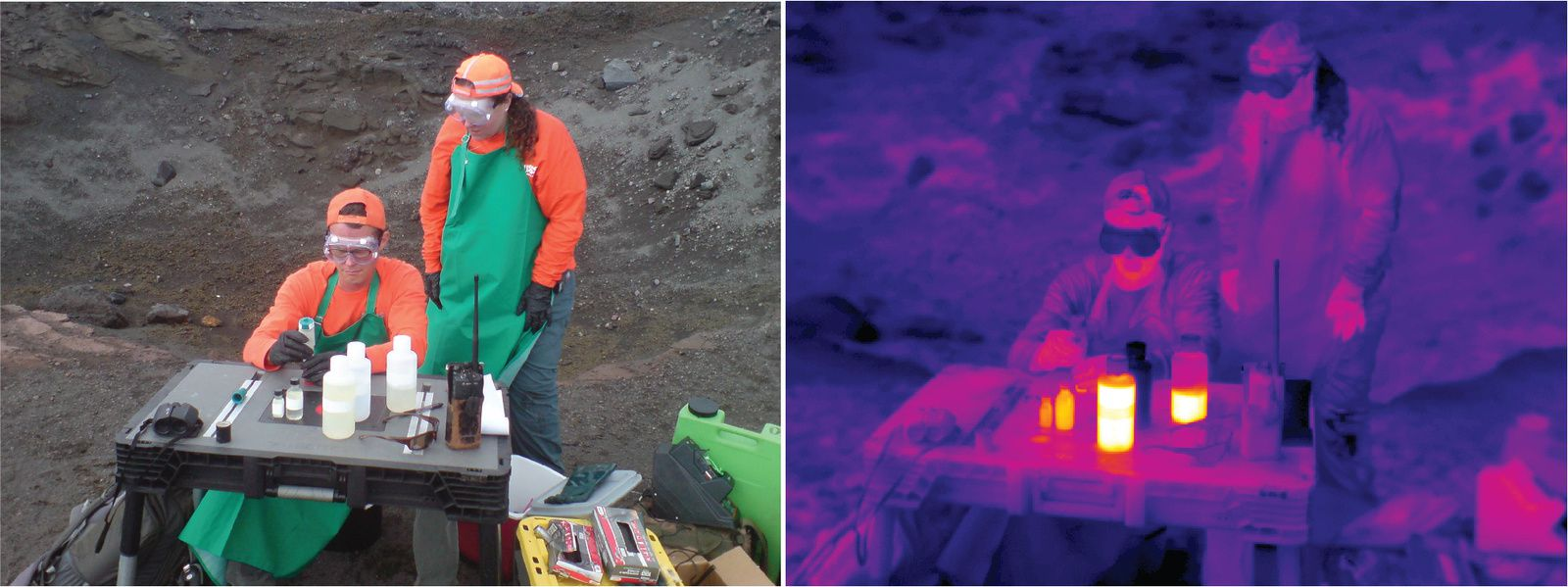 Kilauea - HVO scientists conducted preliminary water tests at the edge of the caldera a few minutes after drone collection. The thermal image shows that the water sample in the plastic bottles remained warm. - USGS images of Mr. Patrick / HVO