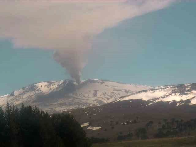 Copahue - continuous ash emissions on 02.11.2019 - Webcams Sernageomin