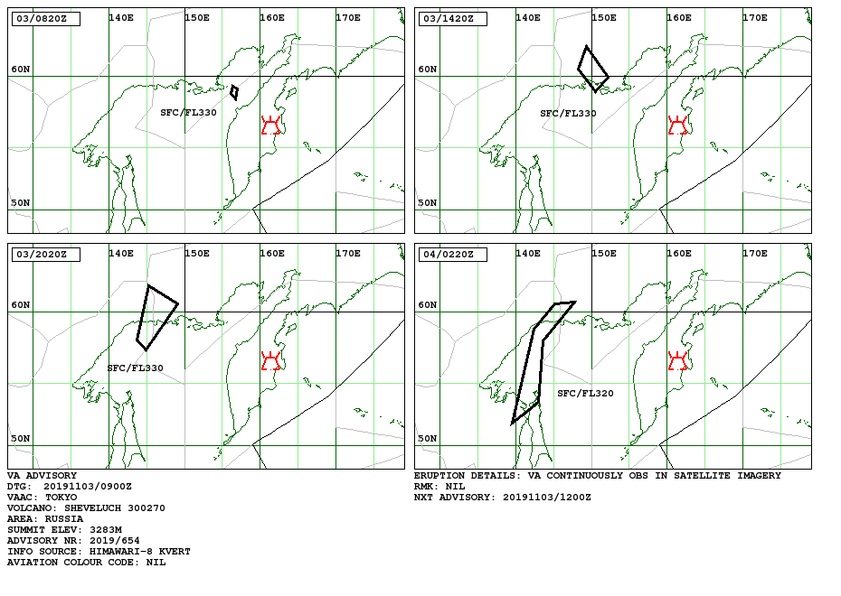 Sheveluch - Volcanic ash advisory pour le 03.11.20019 - Doc. VAAC Tokyo