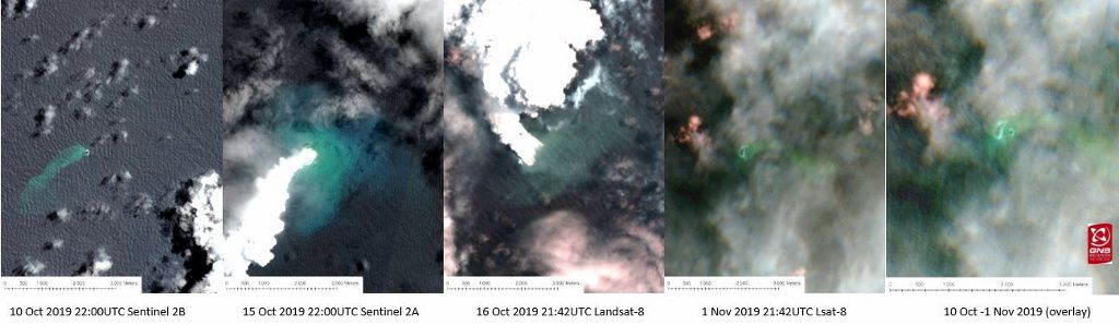 Metis Shoal - images of the Sentinel-2A, Sentinel-2B and Landsat 8 satellites between 10.10.2019 and 01.11.2019 - Doc GNS via Brad Scott - one click to enlarge