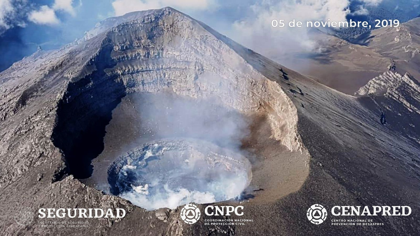 Popocatépetl - overflight of volcano and dome # 85 - Doc. Cenapred / CNPC / UNAM / Seguridad