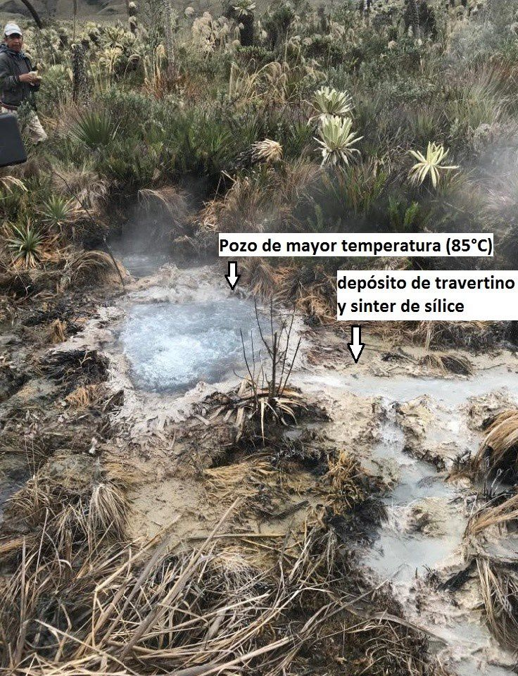 Hot springs area of ​​El Hondón, south of Chiles volcano - Doc. IGEPN - October 22, 2019.