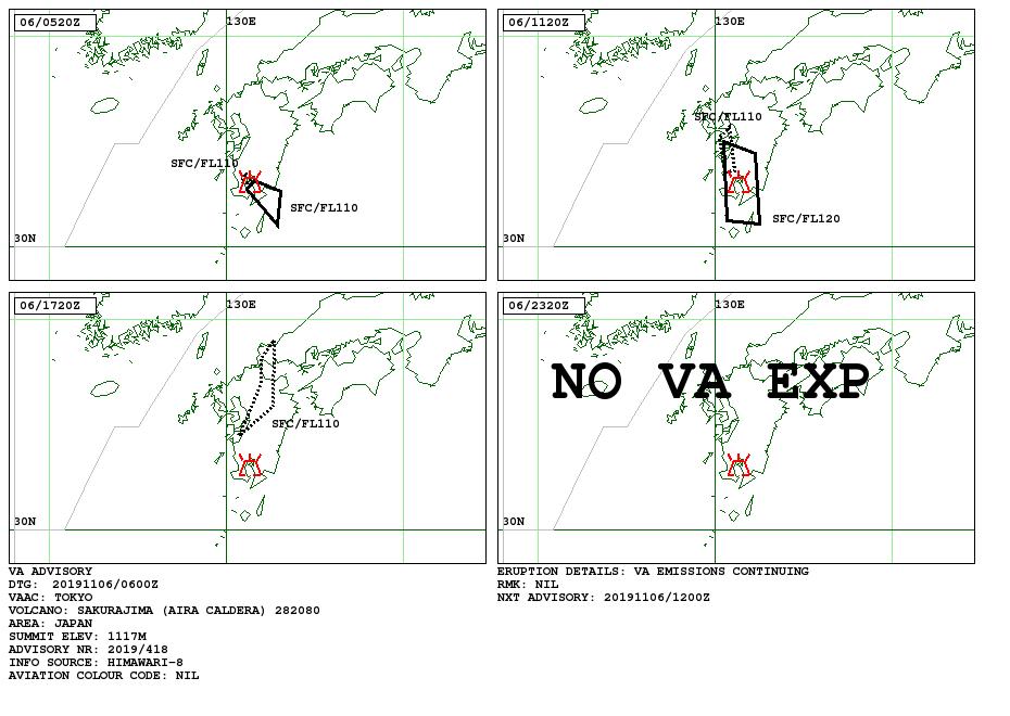 Sakurajima - Volcanic Ash Advisory du 06.11.2019 - Doc. VAAC Tokyo