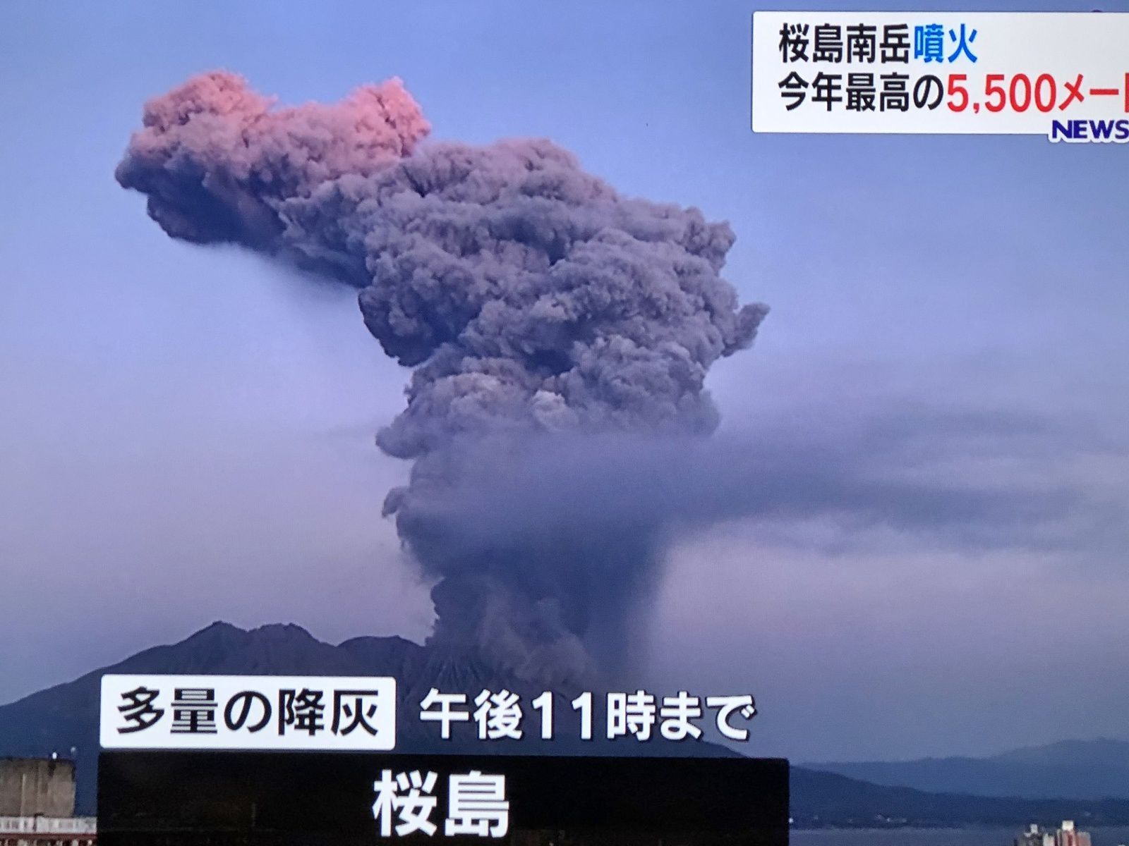 Sakurajima - eruptive episode of the 08.11.2019; the plume has grown up to 5,500 m. above the crater