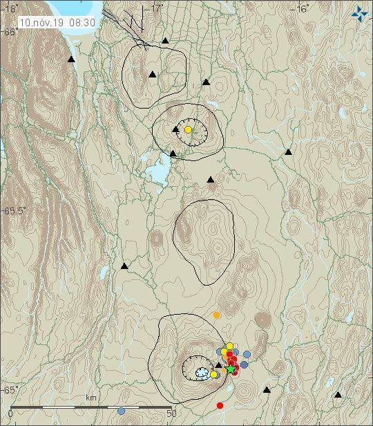 Askja - essaim sismique au 10.11.2019  / 08h30  -  Doc.IMO