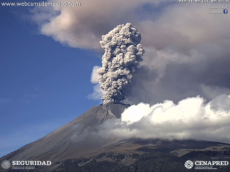 Popocatépetl - 09.11.2019 / 09h43  - photo WebcamsdeMexico