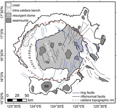 Morphostructural characteristics of the Caldeira Apolaki (red dots). BB = Bank Benham. - Doc. Benham Rise unveiled: Morphology and structure of an Eocene broad igneous province in the West Philippine Basin