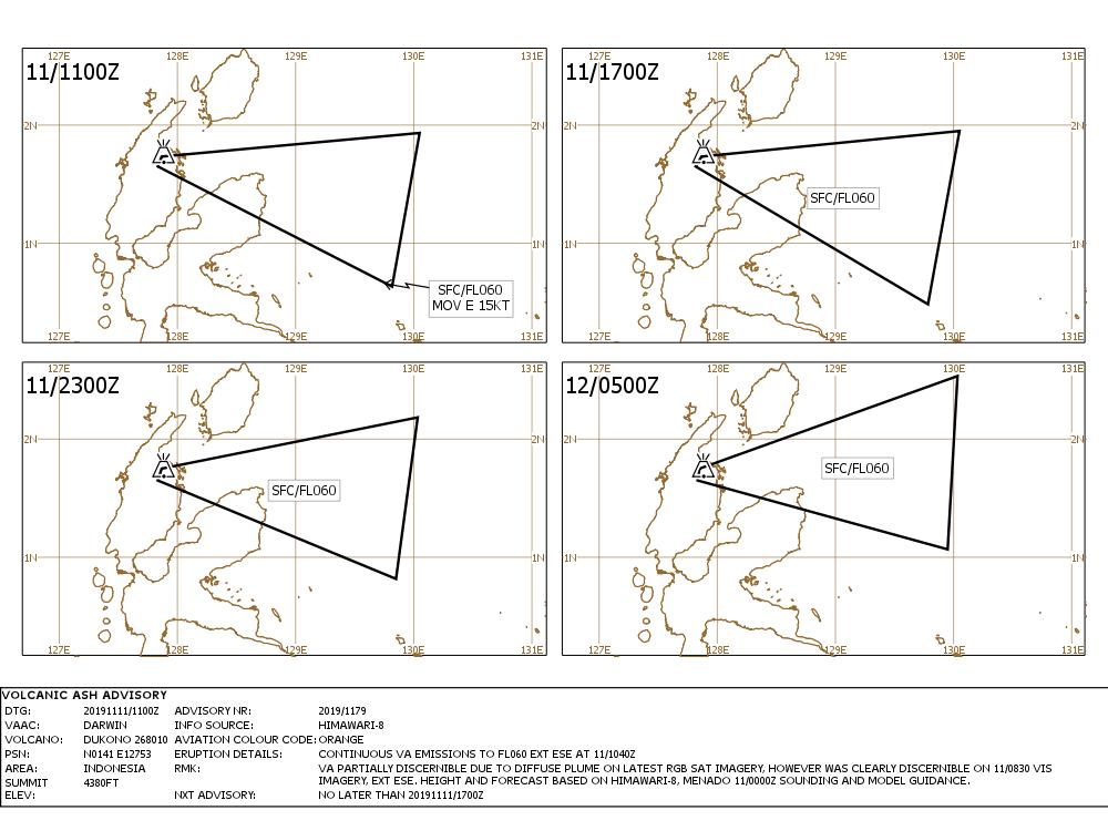 Dukono - Volcanic ash advisory 11.11.2019 / 11h00Z - Doc. VAAC Darwin IDY65290