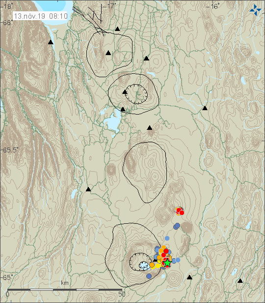 Askja - seismic swarm (location, number of earthquakes and magnitude) at 13.11.2019 / 08h10 - Doc. IMO