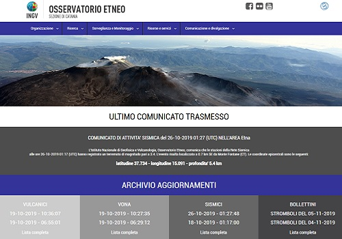 New version of INGV website - Osservatorio Etneo