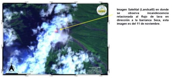 Fuego - incandescence of the lava flow in the Seca gorge, identified by Landsat 8 on 11 November - Doc. INSIVUMEH