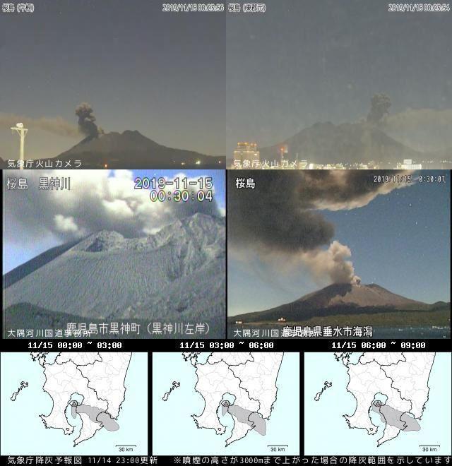 Sakurajima - activity of 15.11.2019 - Doc. JMA