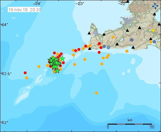Reykjanes ridge - seismicity / location and magnitude of earthquakes at 16.11.209 / 20h30 - IMO