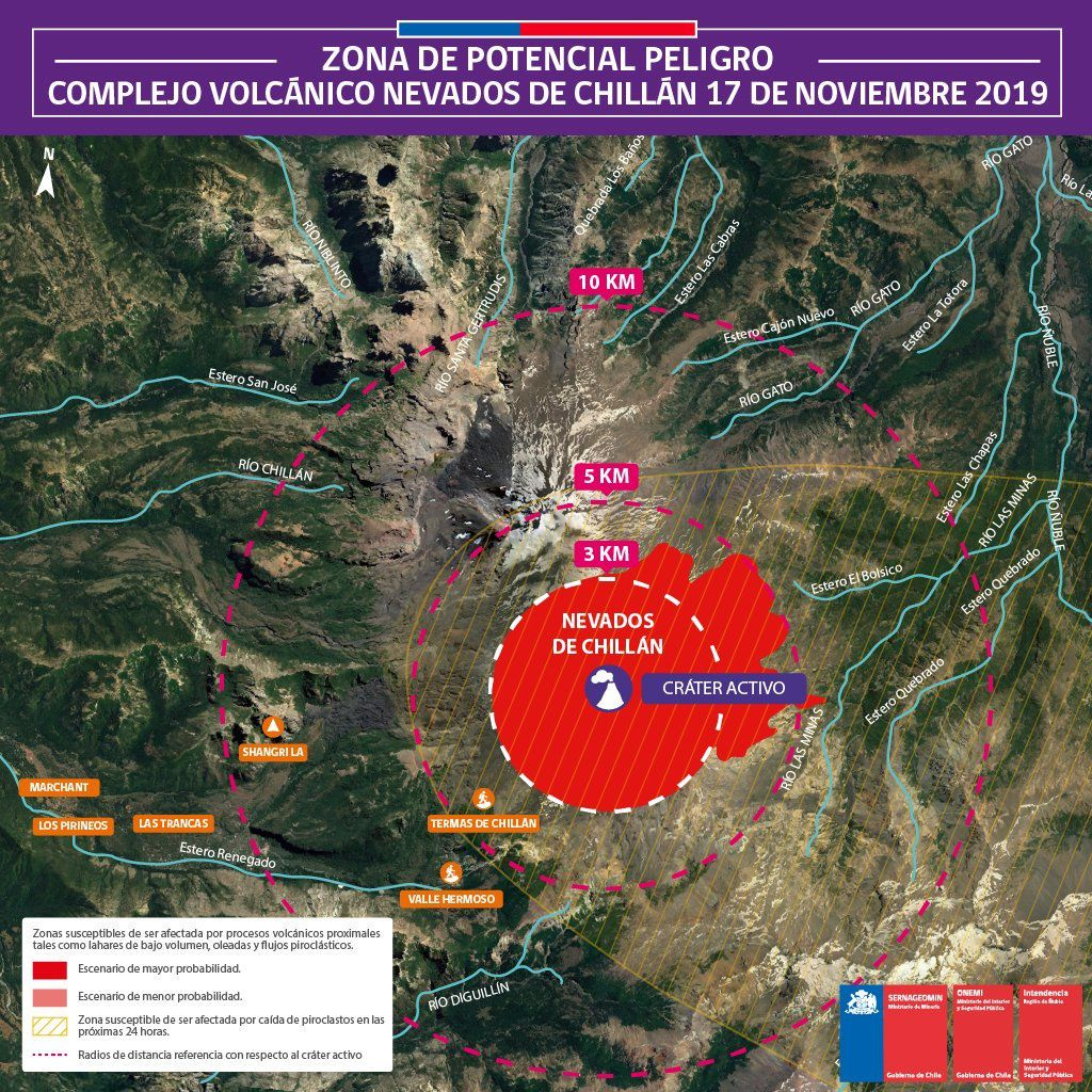 Nevados de Chillan - zone of potential dangers updated to 17.11.2019 - Doc. ONEMI