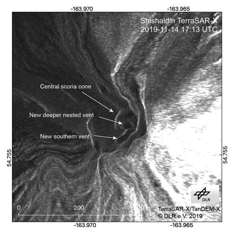 Shisahaldin - Radar image from 14.11.2019 showing the morphological changes of the crater - AVO / Dietterich, Hannah
