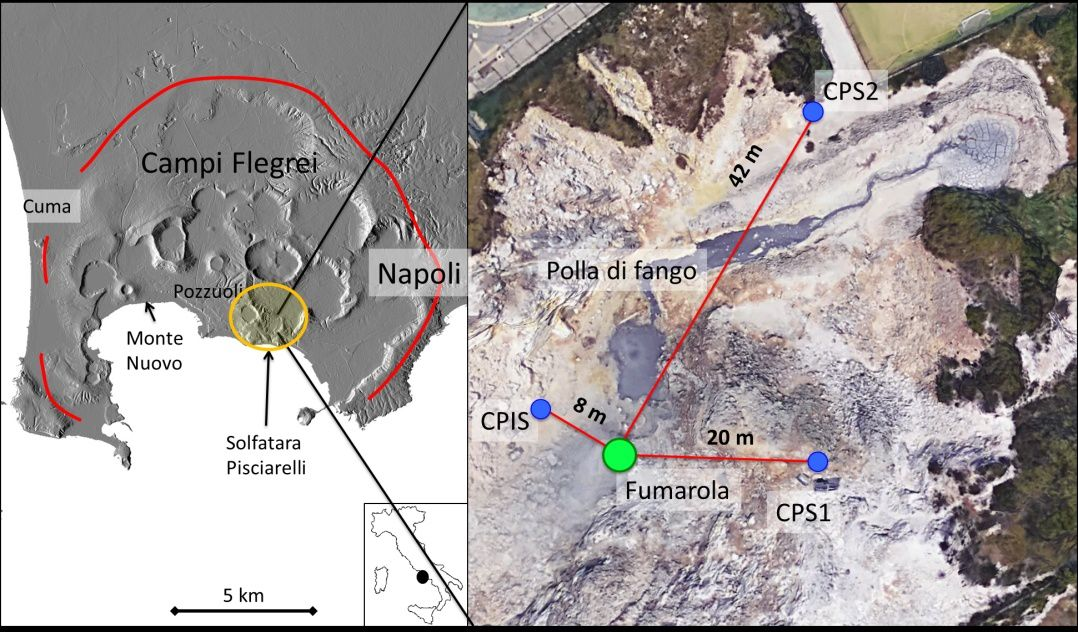 Champs Phlégréens - solfatata Pisciarelli - Doc.  Insight into Campi Flegrei caldera unrest through seismic tremor measurements at Pisciarelli fumarolic field – Giudicepietro & al.