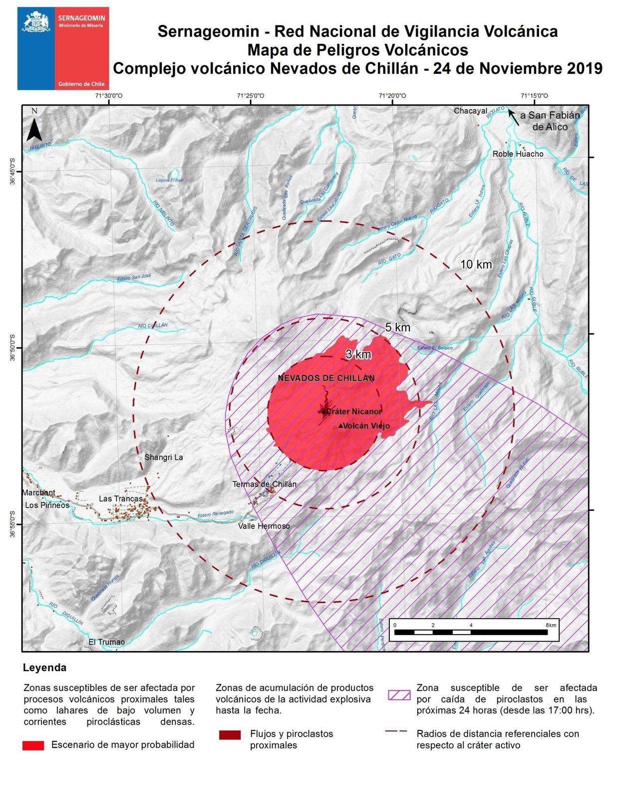 Nevados de Chillan - carte dangers volcaniques au 24.11.2019 - Sernageomin / Onemi