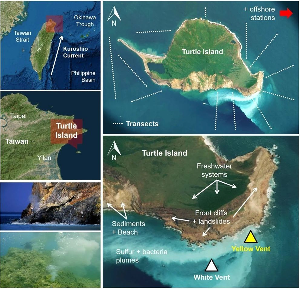 Situation géographique de Turtle Island et des événements catastrophiques qui ont affecté les sources chaudes sous-marines - Doc. Earthquake and typhoon trigger unprecedented transient shifts in shallow hydrothermal vents biogeochemistry. - by Lebrato & al.-  Images ©2018 CNES/Airbus,Data SIO, NOAA, U.S. Navy, NGA, GEBCO ©2018 Google.