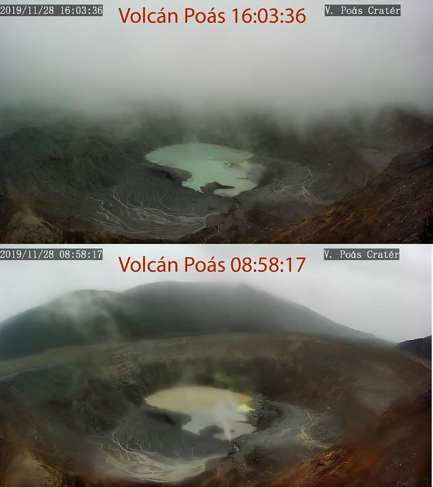 Poas - lake color changes on 28.11.2019 - webcam photos respectively at 8:58 and 16:03 / RSN