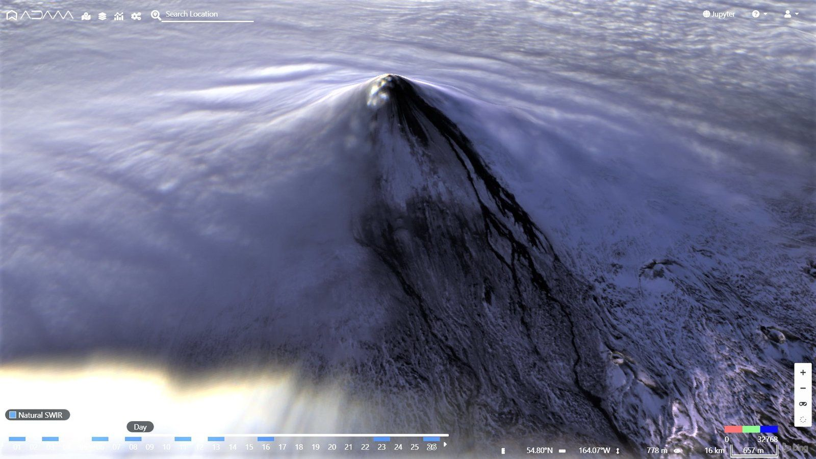 Shishaldin - image Sentinel-2 3D natur. Swir du 26.11.2019 - Copernicus
