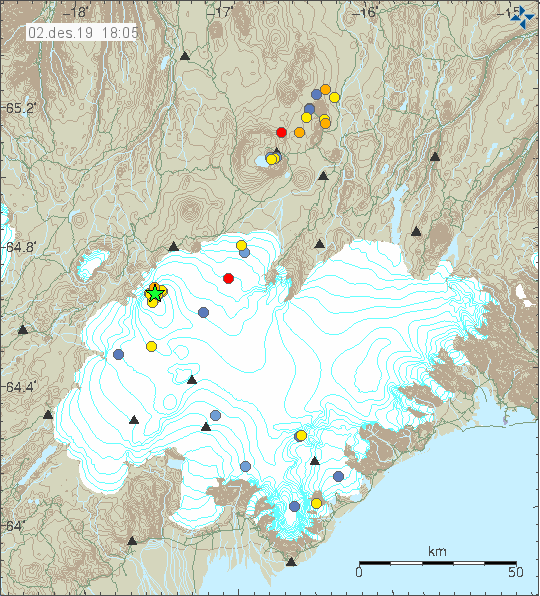 Vatnajökull - location, number and magnitude of earthquakes at 02.12.2019 - Doc. IMO