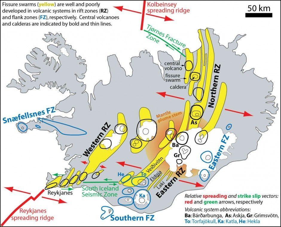 Islande - zones de rift et volcans - Doc. From Forskning.no