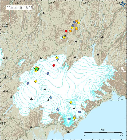 Vatnajökull - localisation, nombre et magnitude des séismes au 02.12.2019 - Doc. IMO
