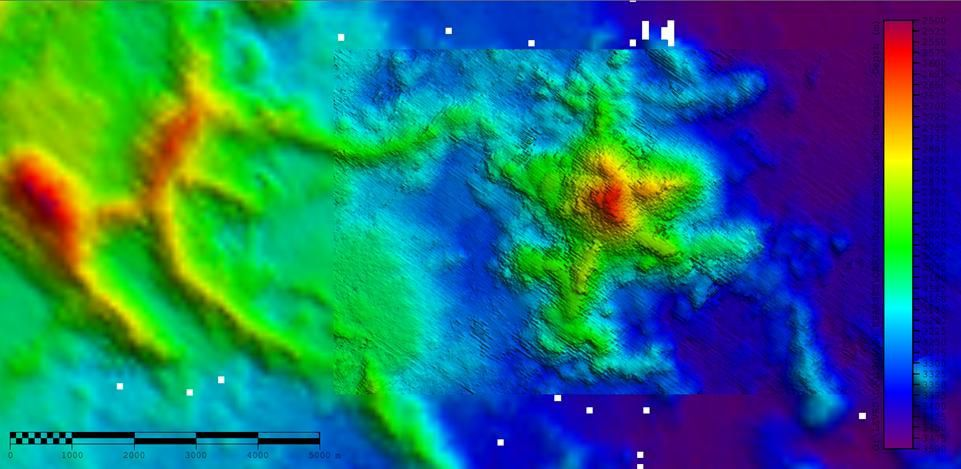 Bathymetry of the submarine volcano of Mayotte and its flows - Doc SHOM 07.2019 - one click to enlarge