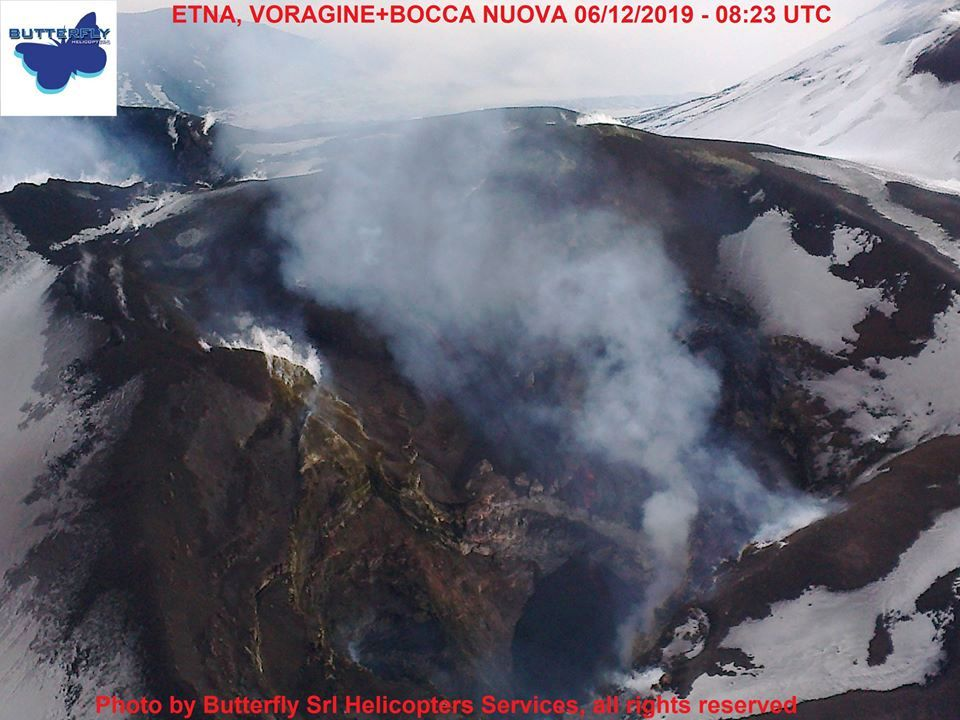Etna - situation of the VOR & BN on 06.12.2019 - photo Piero Berti, via J.Nasi / Butterfly Helicopters / INGVvulcani