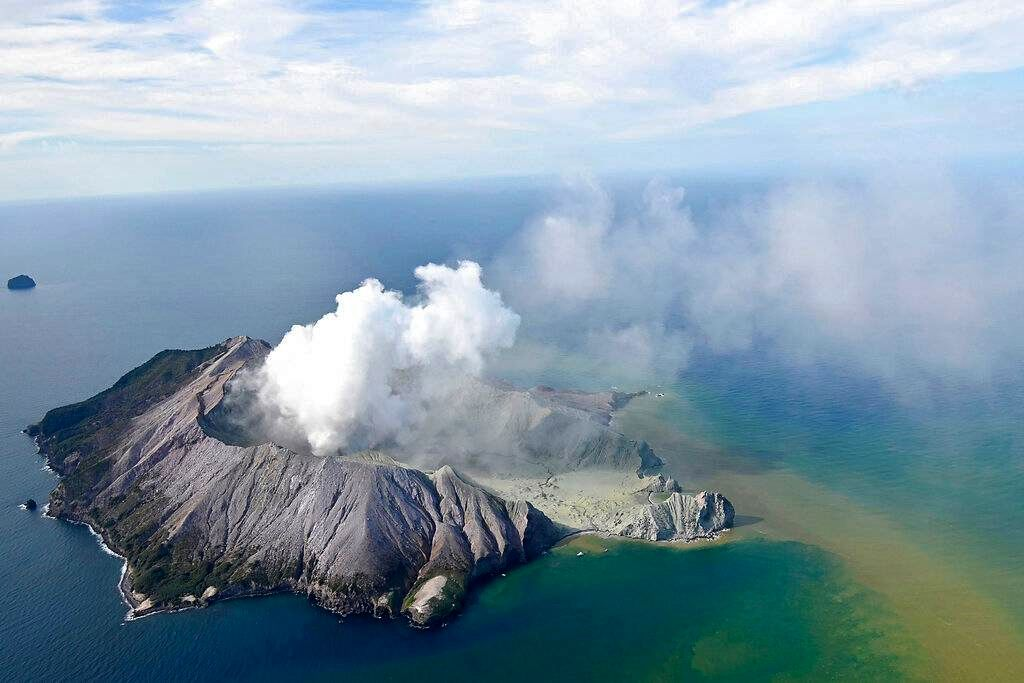 Aerial view of White Island after the eruption - New Zealand Herald photo via AP / George Novak 09.12.2019