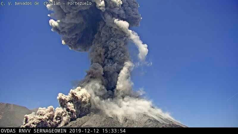 Nevados de Chillan - 12.12.2019 - explosions with pyroclastic flows, respectively at 15:33 and 18:18 - webcam Sernageomin - a click to enlarge