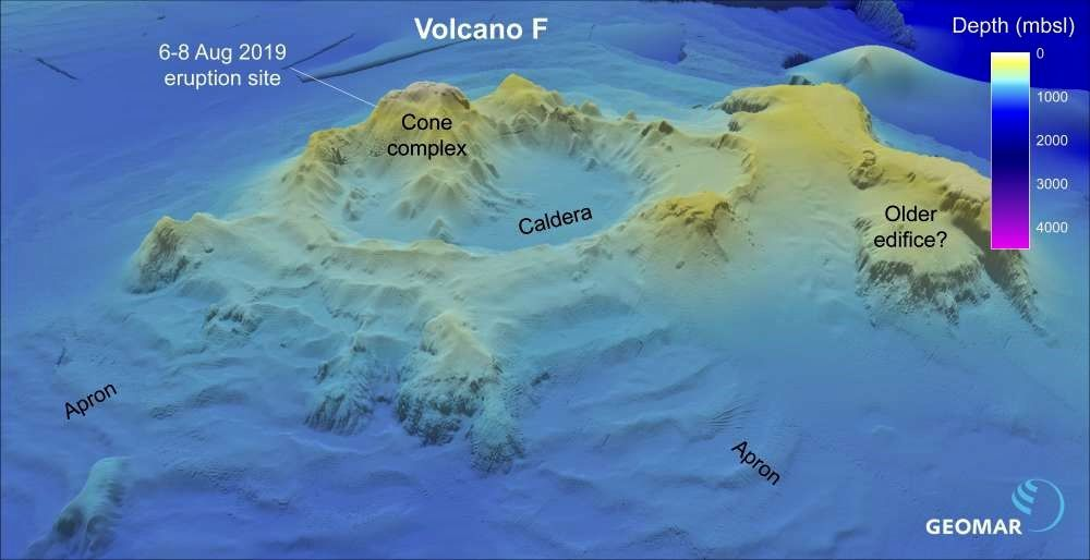 "Volcano ""F"" from old bathymetric data - Graphic Philipp Brandl -GEOMAR"