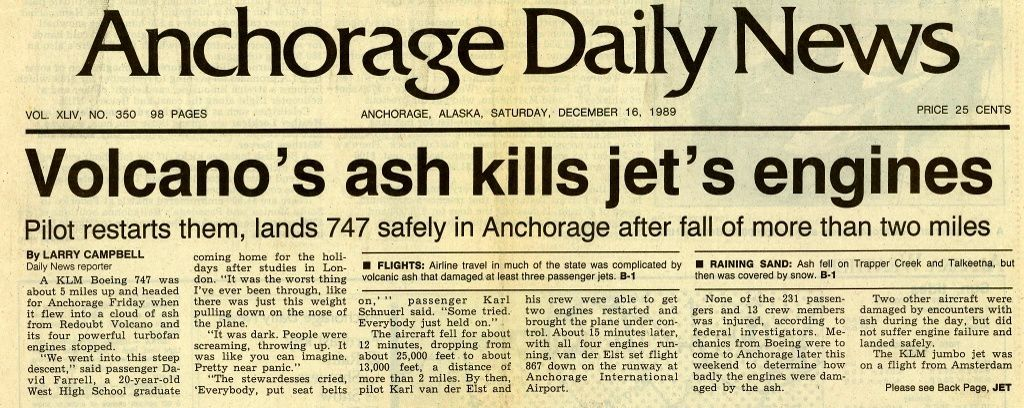 Front page of the Anchorage Daily Mail of 16.12.1989 - Doc AVO - one click to enlarge