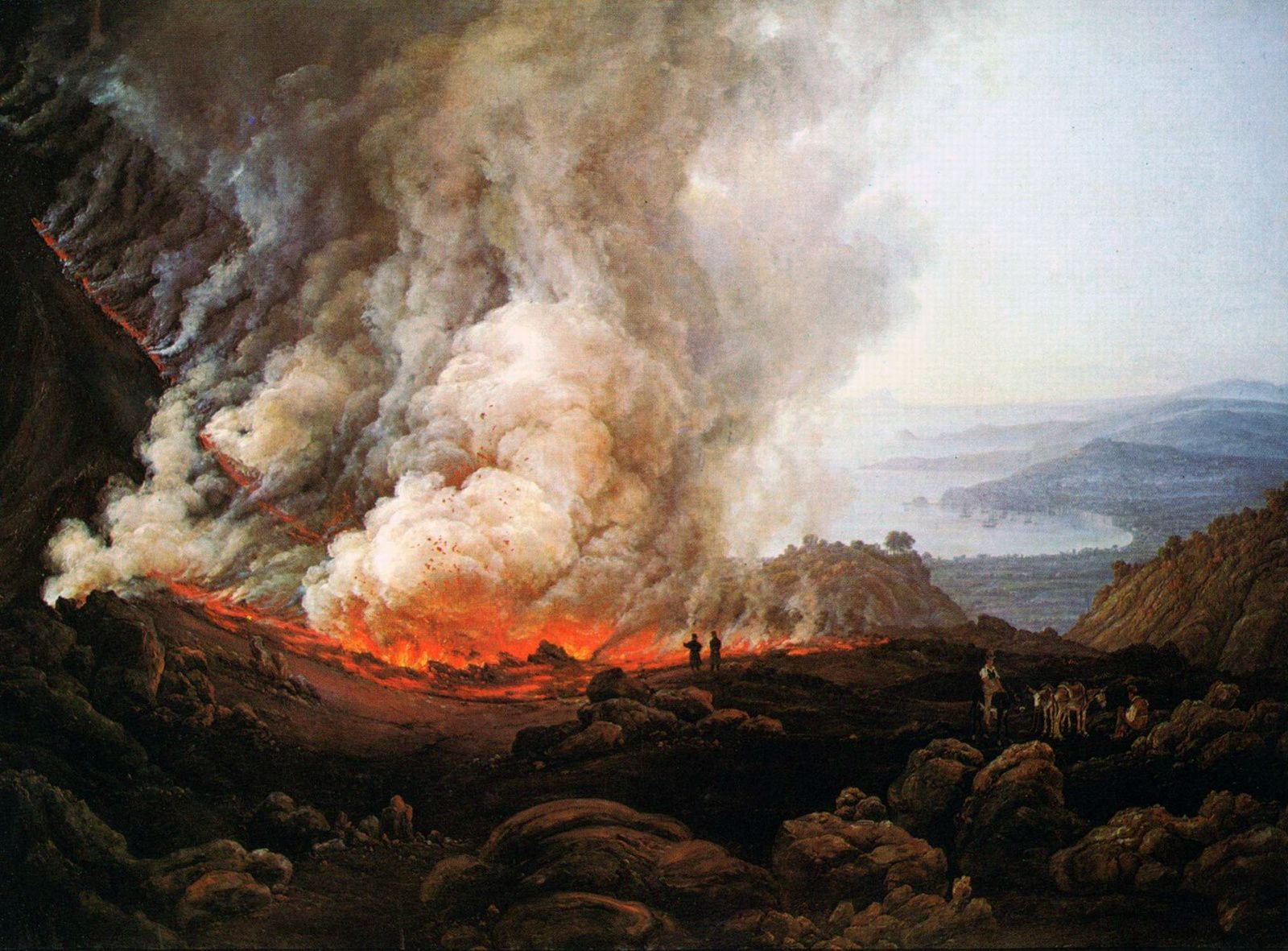 """""""View of Vesuvius in eruption"""" in 1920 - Oil on canvas work by J.C. Dahl (1921) - kept at the Städel Art Institute and municipal gallery"""