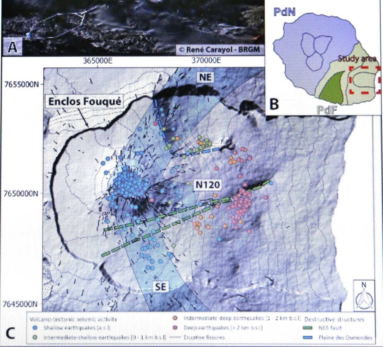 Presentation of the most active part of Piton de la Fournaise: the Enclos Fouqué caldera. (B) Map of La Réunion Island with the two volcanoes: PdN: Piton des Neiges - PdF: Piton de la Fournaise. The study area is delimited by a red dashed square. (C) Digital elevation model with the location of the recent volcano-tectonic seismic activity (colored circles), eruptive fissures visible in the field (in black solid line), the three rift-zones: NE, SE and N120 (Bachèlery, 1981), and the N65 (in green dashed lines) and Plaine des Osmondes (in blue dashed line) faults as defined by Michon and Saint-Ange (2008). Maps B and C have been generated with Illustrator CS6 and the open source QGIS 3.8.3, respectively. Coordinates in meters (WGS84, UTM 40S). - image extracted from doc. referenced in source