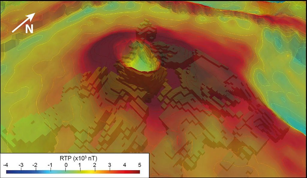 Piton de La Fournaise - Dolomieu - 3D extraction of the conductive body from the AEM resistivity model. The model is shown as a function of the elevation of each cells overlayed with the magnetic RTP map. - image extracted from doc. referenced in source