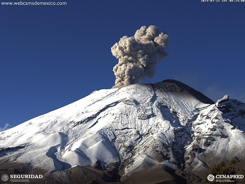 Popocatépetl - sharp images, taken with one of the new HD cameras - webcams image from Mexico / Cenepred / Seguridad
