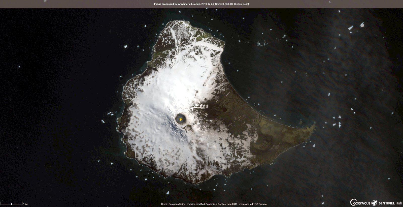 Mt. Michael  -  image Sentinel-2B L1C  custom script du 24.12.2019 - Doc. Annamaria Luongo / Copernicus - un clic pour agrandir