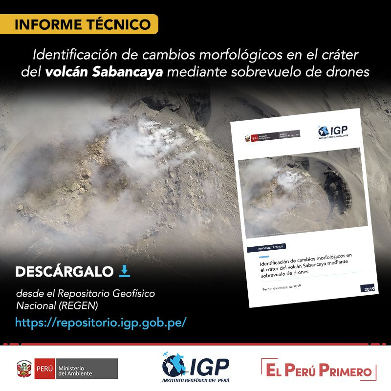 Sabancaya - presence of a lava dome observed during a drone flight - Doc. IG Peru 12.2019