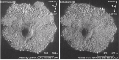Nishinoshima - ALOS-2 / JAXA images via GSI 20.12.2019 (right) and 03.01.2020 (left)