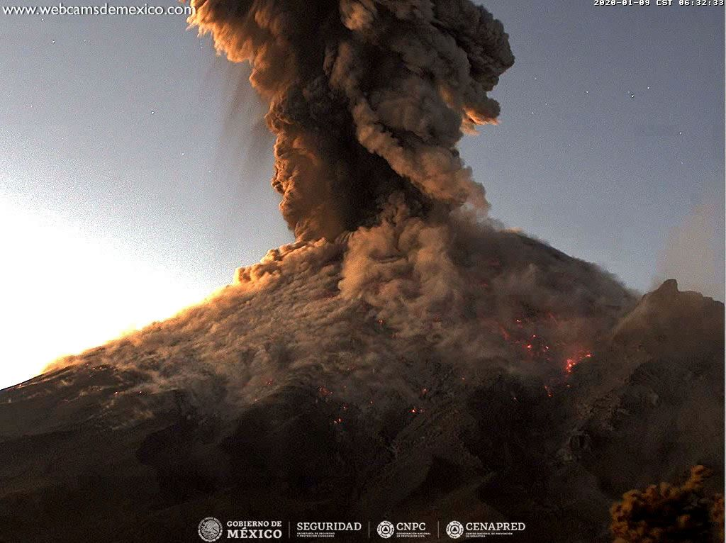 Popocatépetl - explosion du 09.01.2020, respectivement à 6h31, 6h21, 6h33 locale - Photos Webcams deMexico