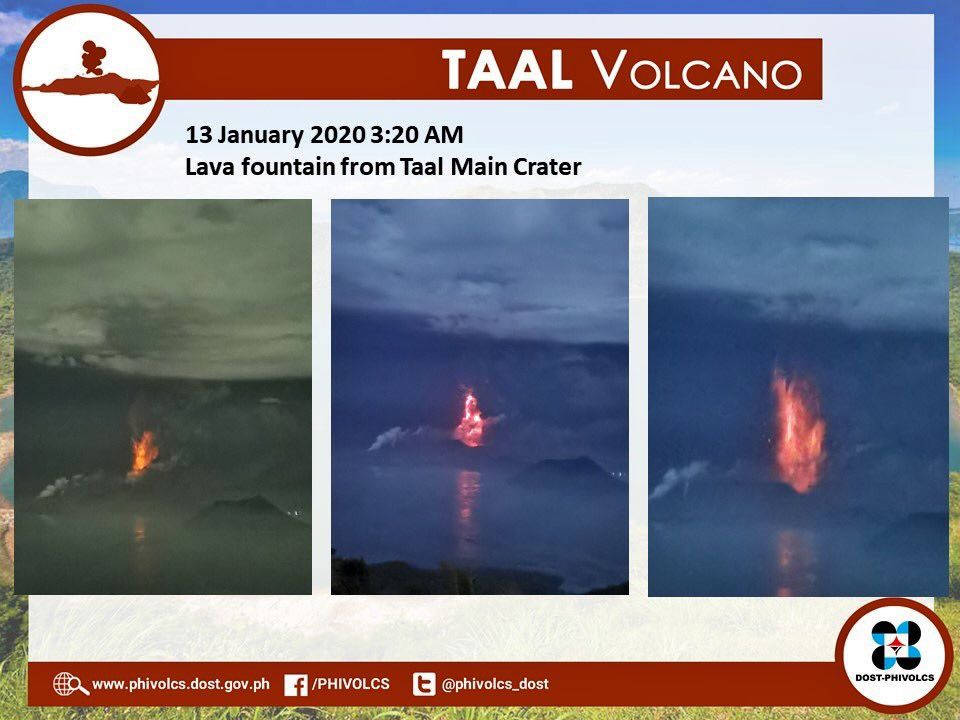 Taal - lava fountains in the main crater on 13.01.2020 / 3:20 am - Phivolcs