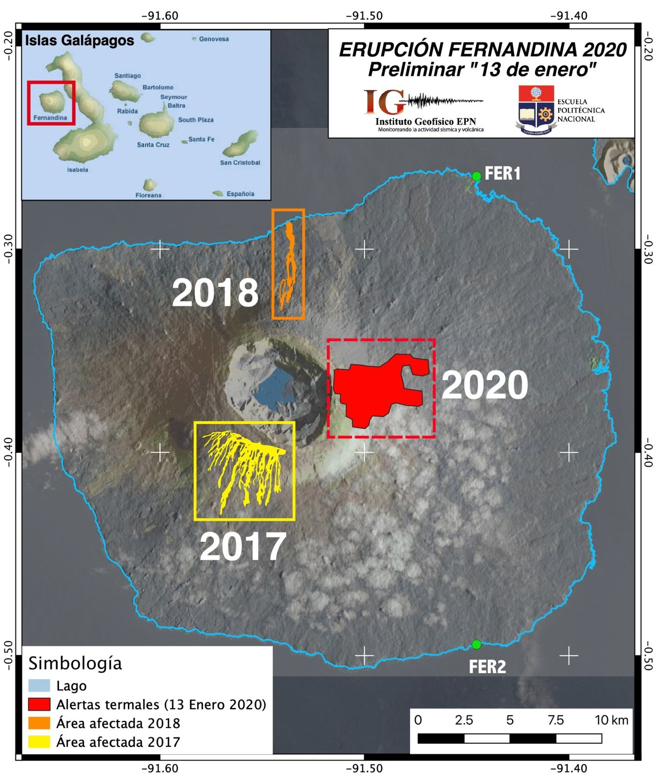 Fernandina - Areas with the presence of thermal alerts detected by FIRMS, during the eruptions of 2017, 2018 and 2020 - Doc. Nasa / IGEPN - F. Vásconez