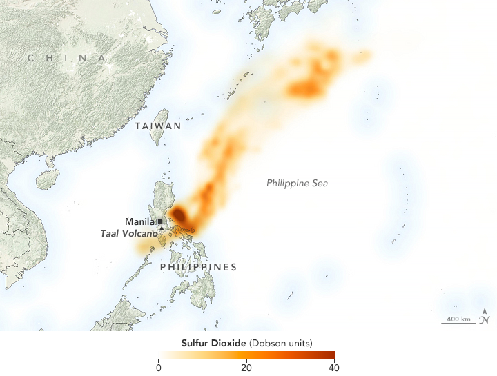 Taal - sulfur dioxide concentrations - detection on 13.01.2020 by Ozone Mapping Profiler Suite (OMPS) on board NOAA-NASA Suomi-NPP satellite.